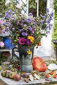 Autumn bouquet sitting on a garden table, Pas de Calais, France
