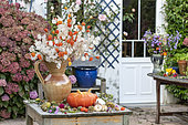 Autumn table in a garden, Pas de Calais, France