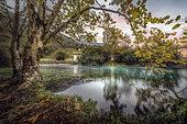 Autumn colors in the wellspring, La Santissima, Polcenigo, Pordenone, Italy