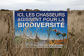 Information boards indicating that hunters act for biodiversity in Seine-Maritime, France
