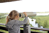 Observation with binoculars birds by a girl in the Marais Vernier at the Grand-Mare in the Regional Natural Park of the Loops of the Seine Normande (27), France