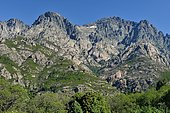 From Bocognano, view on the granite relief of the Corsican mountain.