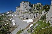 Randonnée sur le GR20 en direction du Pas de l'Osque, Zone karstique recouverte par les pins à crochets (Pinus uncinata), PN des Pyrénées, France