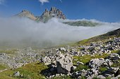Sea of clouds covering the Cirque d'Anéou, south face of the Pic du Midi d'Ossau, Ossau Valley, Pyrenees, France