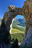 Arch of Sarronal, View of the Bubal Lake in the Tena Valley, Huesca, Pyrenees, Aragon, Spain