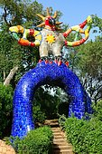Colorful sculpture in the Giardino dei Tarocchi or Garden of the Tarot, by Niki de Saint Phalle and Jean Tinguely in Capalbio, Province of Grosseto, Tuscany, Italy, Europe