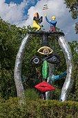 Colorful sculpture in the Giardino dei Tarocchi or Garden of the Tarot, by Niki de Saint Phalle and Jean Tinguely, in Capalbio, Province of Grosseto, Tuscany, Italy, Europe
