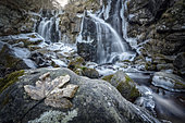 Dardagna waterfalls in winter, Bologna, Italy