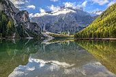 Mirror on Lake Braies, in the Dolomites, famous lake in a grandiose setting, tourism spot in the upper Adige at the foot of the Dolomites, Fanes-Sennes-Braies Nature Park, Tyrol, Italy