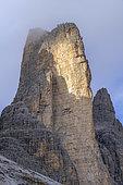 Great Crown of Lavaredo, Dolomites Massif, Stromatolite Strata, Climbing Icon, Tre Cime Natural Park, Dolomites Massif, Tyrol, Italy