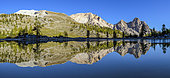 Mirror on the Green Lake in the Dolomites, Val di Fanes, Natural Park of Fanes-Sennes-Braies, Dolomites, Tyrol, Italy
