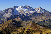 The Marmolada (3343 m) and the last glacier of the Dolomites, seen from the peaks of Lagazuoi, Massif des Dolomites, Tyrol, Italy