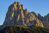 The famous Sassolungo, icon of the Dolomites, this beautiful mountain overlooks the largest alp of the Dolomites, the Alpe of Siusic Massif of the Dolomites, Tyrol, Italy