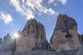 Tre Cime di Lavaredo in the Dolomites, the most famous peaks of the Dolomites, icons of climbers, Natural Park Tre Cime, Massif Dolomites, Tyrol, Italy