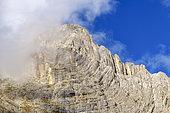 Pleated strata of dolomite above the lake of Sorapiss, Dolomites Massif, Natural Park of Dolomiti d'Ampezzo, Tyrol, Italy