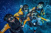 "Tara Pacific expedition - november 2017 Solomon Sea ""Taranauts"" l to r: Nicolas Bin (1st mate), Jonathan Lancelot (dive supervisor and hyperbaric operator), Maria de la Fuente (Univ. Cambridge), Jörn auf dem Kampe (GEO staff writer & editor)"