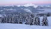Roc d'enfer, in the Chablais Massif, at dusk in the morning. Alps, France