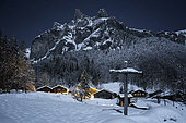 Sixt-Fer-à-Cheval circus under the light of the moon, Alps, France
