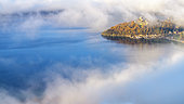 Autumn mists on Lake Bourget, Chatillon Peninsula, south of Chautagne, Savoie, France