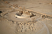 Aerial view of the Ancient Theater of Palmyra in January 2009, Syria