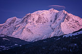 Massif du Mont-Blanc, at sunset, seen from the heights of Combloux, Haute-Savoie, Alps, France