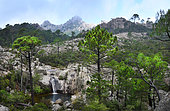 Waterfall in the Aiguilles de Bavella, Corsica, France