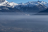 Air pollution smog above Passy and the Arve valley, February 24, 2019, Alps, Haute-Savoie, France