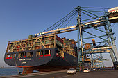 Container ship at dock, Fos-sur-Mer, France.