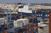 Container ship at dock, Malta.