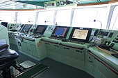 Cockpit of a container carrier.