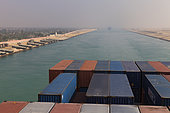 Suez Canal seen from a container ship, Egypt.