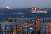 Container ship in Red Sea, Egypt.