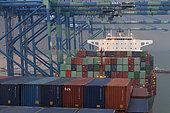 Container ship at Wesport, Port Kelang, Malaysia.