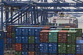 Containers aboard a container ship, Ningbo Port, Zhejiang, China.