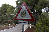 Traffic sign in the Spanish Lynx (Lynx pardinus) area, Andalusia Spain