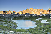 Vallée de La Clarée, the Long Lake (2387m) with in the background the Cerces massif (3093m), Névache, Hautes-Alpes, France