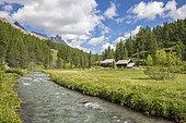 Vallée de la Clarée, the Clarée river and chalets at a place called Jadis, Névache, Hautes-Alpes, France