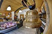 Comté cheese making, bell, Cheese factory and shop, Damprichard, Doubs, France