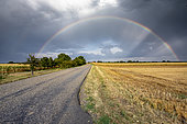 Rainbow over fields in summer, Nordhouse, Alsace, France