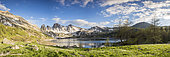 Lake Allos (2226 m), in the background the Tours du Lac, Haut-Verdon, Mercantour National Park, Alps, France