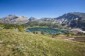 Lake Allos seen from the collar of the congested, in the background the refuge of Lake Allos dominated by Mount Pelat (3051m), Haut-Verdon, Mercantour National Park, Alps, France