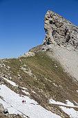 Hikers at the Encombrette Pass dominated by the head of Valplane (2624m), Haut-Verdon, Mercantour National Park, Alps, France