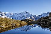 Lake Lauzon (2008m), Sirac (3441m) in the background, Chapelle-en-Valgaudémar, Ecrins National Park, Hautes-Alpes, France