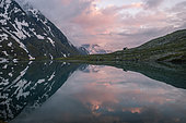 Lake Goléon (2438m) in the massif of Oisans with La Meije (3809m) in the background, Ecrins National Park, Hautes-Alpes, France