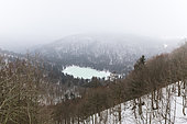 Lake Blanchemer, located 984 meters in the town of La Bresse in the Vosges, France