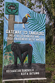 Tangkoko National Park, Sign at the entrance to the village of Tangkoko, Sulawesi, Celebes, Indonesia
