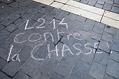 """Inscription on the ground and chalk """"L214"""" during an anti-hunting event, Paris, France"""