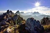 Sun star over Fribourg Pre-Alps, Freiburger Voralpen, Gastlosen, Canton Fribourg, Switzerland, Europe