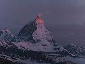 Cervino in alpine landscape at sunrise