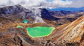Green sulphurous lakes, Emerald Lakes in active volcanic Tongariro National Park, Manawatu-Wanganui, North Island, New Zealand, Oceania